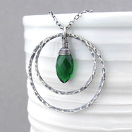 Large Shimmer Layers Necklace - Emerald Quartz and Sterling Silver