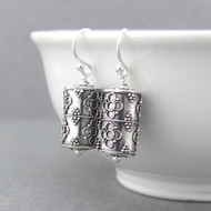 Cylinder Bead Earrings - Simple Sterling Silver
