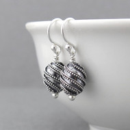 Oval Bead Earrings - Sterling Silver - Petite Drops