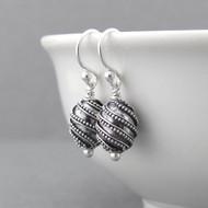 Oval Bead Earrings - Sterling Silver - Petite Drops