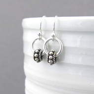 Tiny Hoop Earrings - Sterling Silver - Bead Hoops