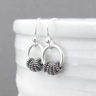 Tiny Hoop Earrings - Sterling Silver - Coil Hoops