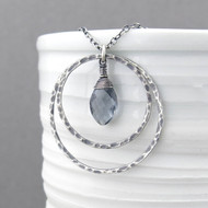 Large Shimmer Layers Necklace - Gray Quartz and Sterling Silver