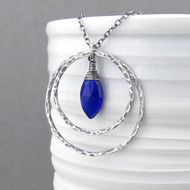 Large Shimmer Layers Necklace - Cobalt Quartz and Sterling Silver