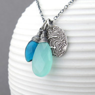 Interchangeable Charm Necklace - Teal Quartz, Aqua Blue Chalcedony and Sterling Silver