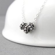 Tiny Silver Bead Necklace