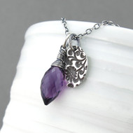 Interchangeable Charm Necklace - Amethyst Quartz and Sterling Silver