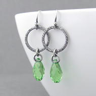 Annabelle Earrings - Peridot Crystal and Sterling Silver
