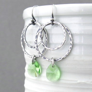 Ashley Earrings - Peridot Crystal and Sterling Silver