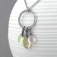 Rachel Necklace - Prehnite, Champagne Citrine, Rose Quartz and Sterling Silver