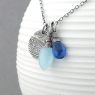 Interchangeable Charm Necklace - Kyanite Quartz, Light Blue Chalcedony and Sterling Silver