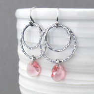 Ashley Earrings - Peach Crystal and Sterling Silver