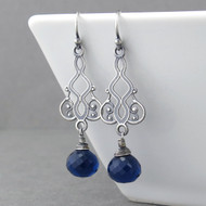 Moroccan Dreams Earrings - Sapphire Quartz and Sterling Silver