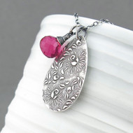 Interchangeable Charm Necklace - Fuchsia Quartz and Sterling Silver