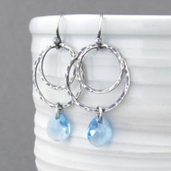Ashley Earrings - Aquamarine Crystal and Sterling Silver