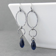 Adorned Aubrey Earrings - Indigo Crystal and Sterling Silver