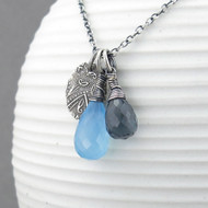 Interchangeable Charm Necklace - Gray Quartz, Blue Chalcedony and Sterling Silver