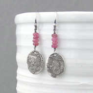Tracey Earrings - Pink Sapphire and Sterling Silver