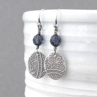 Tracey Earrings - Graphite Crystal and Sterling Silver