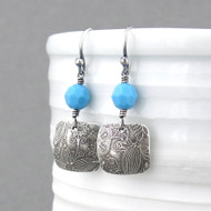 Tracey Earrings - Opaque Turquoise Crystal and Sterling Silver