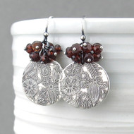 Lily Earrings - Garnet and Sterling Silver
