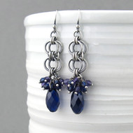 Teardrop Earrings - Indigo Crystal and Sterling Silver