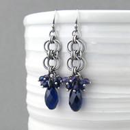 Teardrop Earrings - Indigo Crystal and Sterling Silver