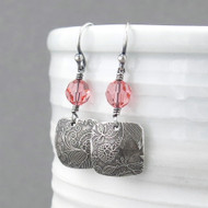 Tracey Earrings - Peach Crystal and Sterling Silver