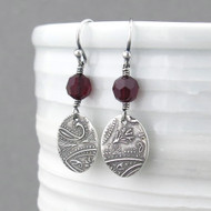 Tracey Earrings - Garnet Crystal and Sterling Silver