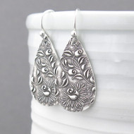 Abigail Earrings No. 5 - Climbing Roses - Elegant Teardrop