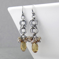 Teardrop Earrings - Light Colorado Topaz Crystal and Sterling Silver