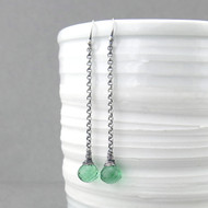 Long Drops Earrings - Spring Green Quartz and Sterling Silver