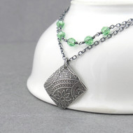 Double Strand Necklace - Peridot Crystal and Sterling Silver