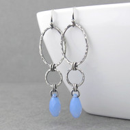 Adorned Aubrey Earrings - Air Blue Opal Crystal and Sterling Silver