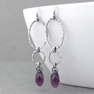 Adorned Aubrey Earrings - Amethyst Crystal and Sterling Silver