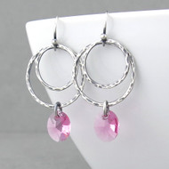 Ashley Earrings - Pink Tourmaline Crystal and Sterling Silver