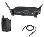 Audio-Technica System-10 ATW-R1100 Receiver, ATW-T1001 UniPak Transmitter W/ AT-GcW Guitar / Instrument Input Cable