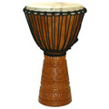 "Monster Head Deep Carved Djembe - Antique Gold 25"" x 16"""