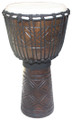 "Geometric Diamond Line Carved Djembe # 2: 20"" x 11"""