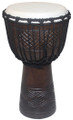 "Geometric Diamond Line Carved Djembe # 1: 20"" x 11"""