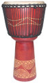 "Red Abstract Line Carved Djembe: 20"" x 11"""