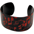 Music Note Bracelet Cuff in Black with Red Notes