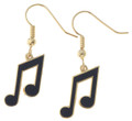 8th Note Earrings - Black