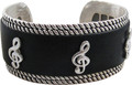 Bracelet - Silver Black Leather G-Clef