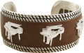 Bracelet - Silver Brown Leather Piano