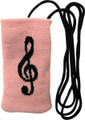 Cell Phone Pouch - Pink With Black G-Clef