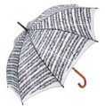 Sheet Music Umbrella With Wooden Handle - White