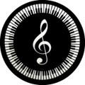 G-Clef Keyboard Round Vinyl Coaster