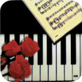 Keyboard And Rose Square Vinyl Coaster