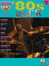 '80s Rock (Drum Play-Along Volume 8). By Various. For Drums. Drum Play-Along. Play Along. Softcover with CD. 48 pages. Published by Hal Leonard.  Play your favorite songs quickly and easily with the Drum Play-Along Series. Just follow the drum notation, listen to the CD to hear how the drums should sound, then play along using the separate backing tracks. The lyrics are also included for quick reference. The audio CD is playable on any CD player. For PC and MAC computer users, the CD is enhanced so you can adjust the recording to any tempo without changing the pitch! Includes: Cult of Personality • Heaven's on Fire • Rock of Ages • Shake Me • Smokin' in the Boys Room • Talk Dirty to Me • We're Not Gonna Take It • You Give Love a Bad Name.